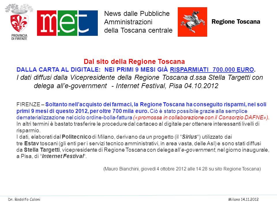 News dalle Pubbliche Amministrazioni della Toscana centrale
