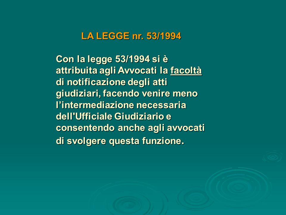 LA LEGGE nr. 53/1994