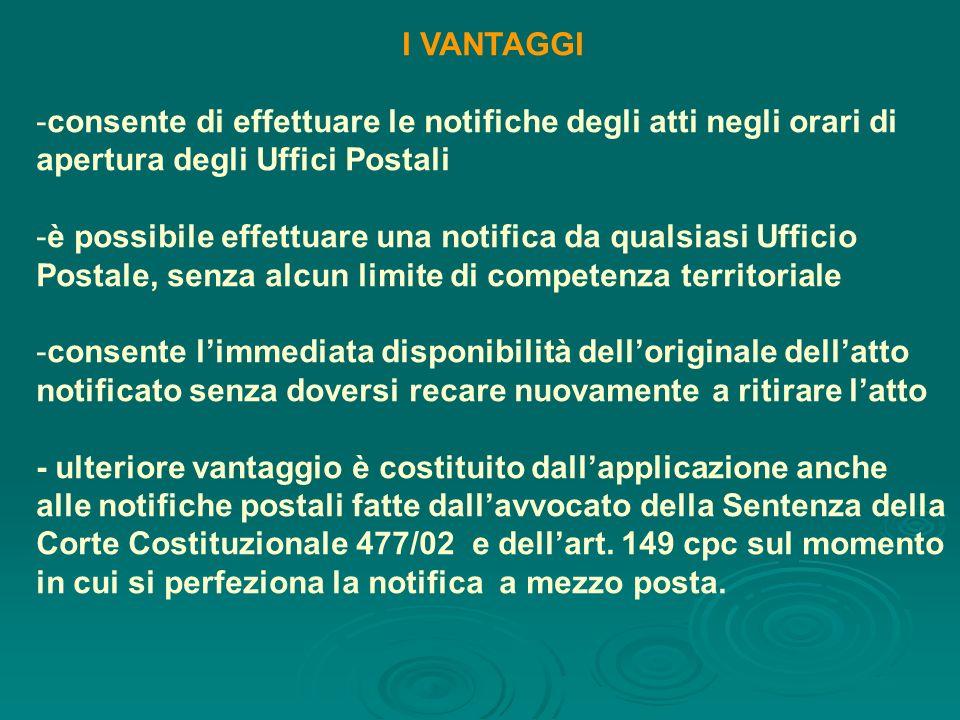 I VANTAGGI consente di effettuare le notifiche degli atti negli orari di apertura degli Uffici Postali.
