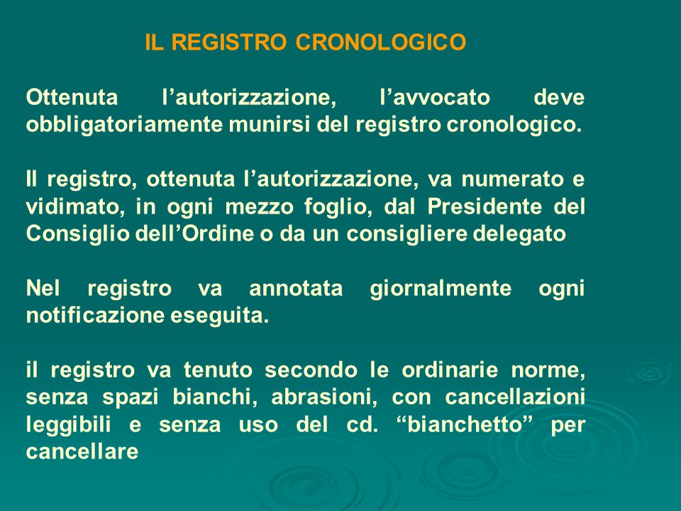 IL REGISTRO CRONOLOGICO