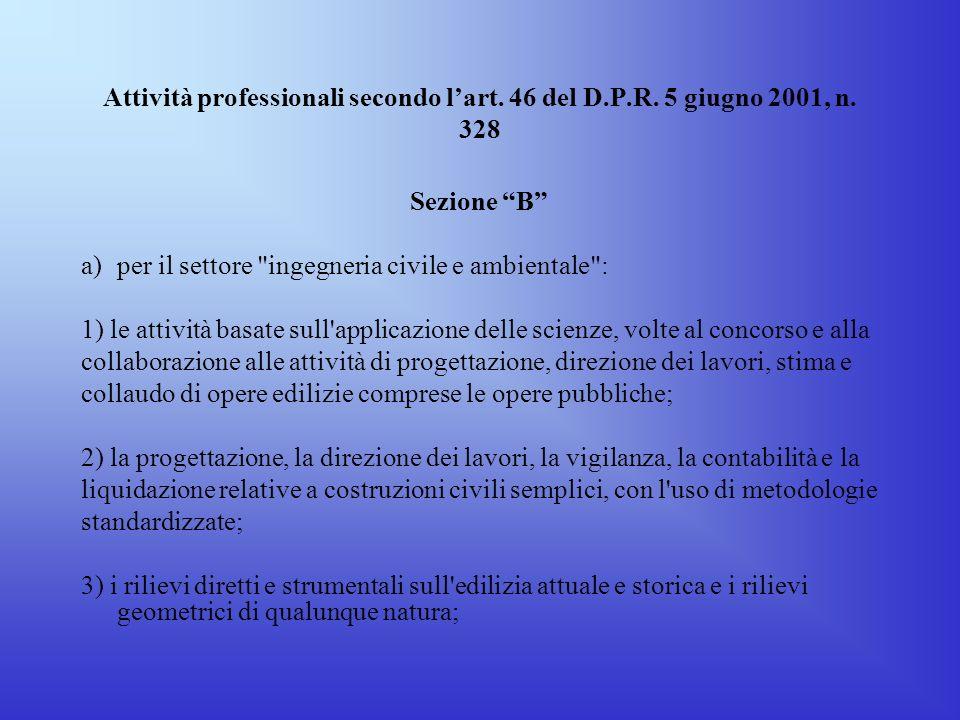 Attività professionali secondo l'art. 46 del D. P. R. 5 giugno 2001, n