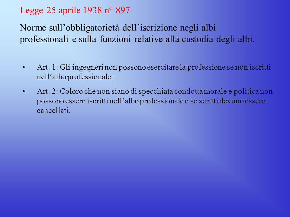 Legge 25 aprile 1938 n° 897Norme sull'obbligatorietà dell'iscrizione negli albi professionali e sulla funzioni relative alla custodia degli albi.