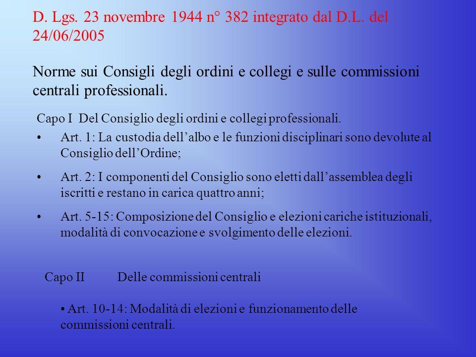 D. Lgs. 23 novembre 1944 n° 382 integrato dal D.L. del 24/06/2005