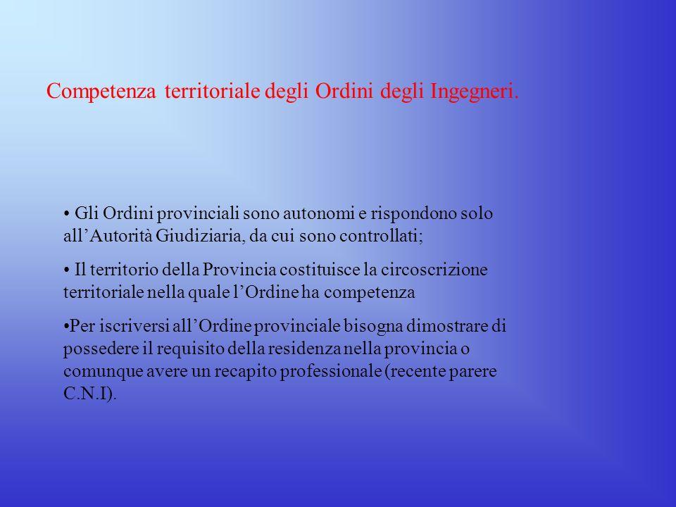 Competenza territoriale degli Ordini degli Ingegneri.