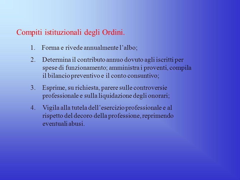 Compiti istituzionali degli Ordini.