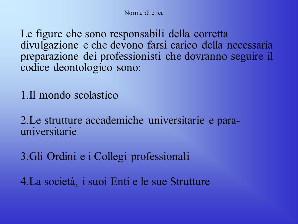Le strutture accademiche universitarie e para-universitarie