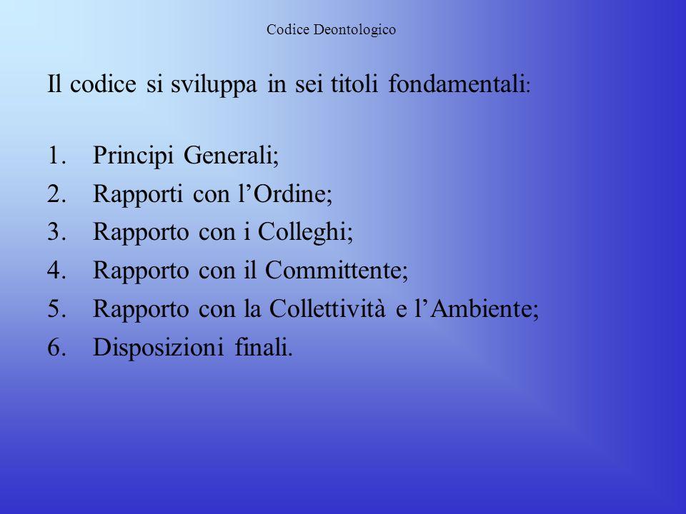 Il codice si sviluppa in sei titoli fondamentali: Principi Generali;