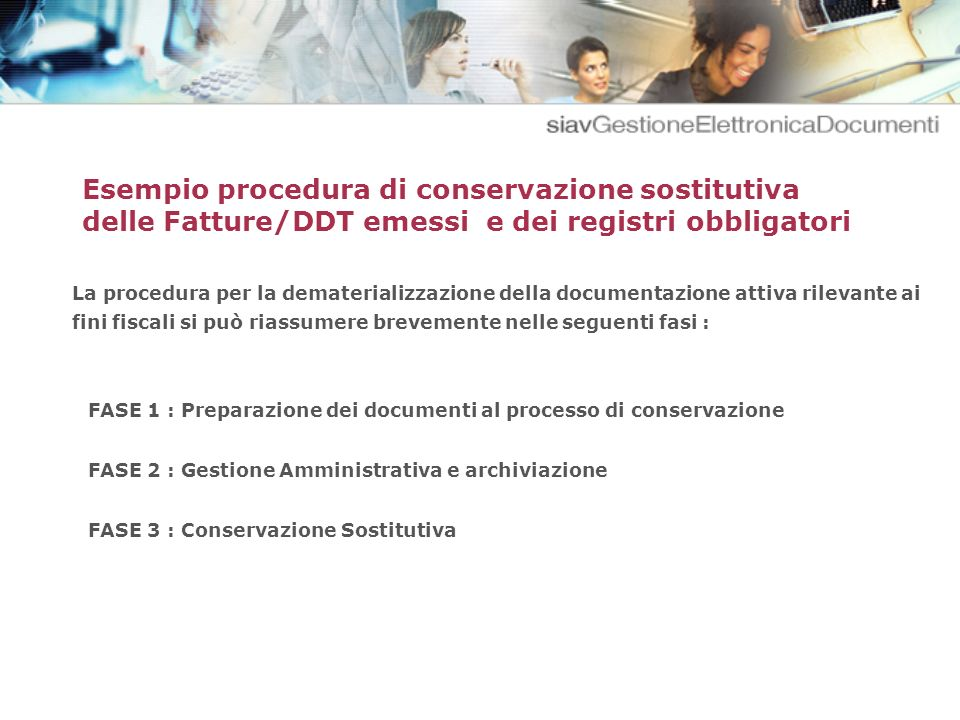Esempio procedura di conservazione sostitutiva delle Fatture/DDT emessi e dei registri obbligatori