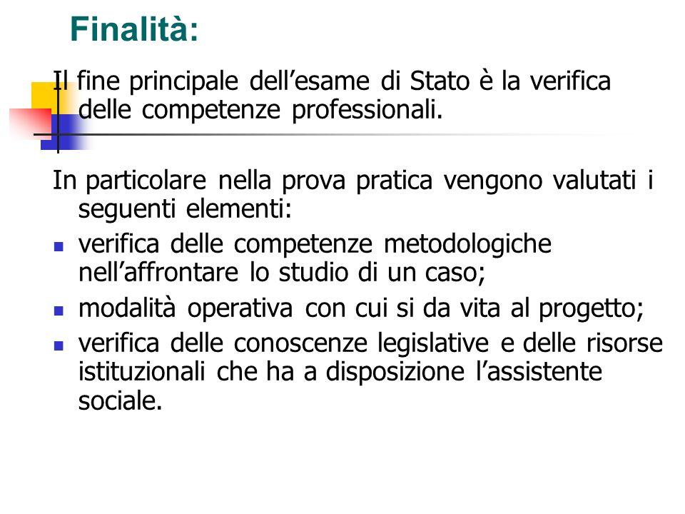 Finalità:Il fine principale dell'esame di Stato è la verifica delle competenze professionali.