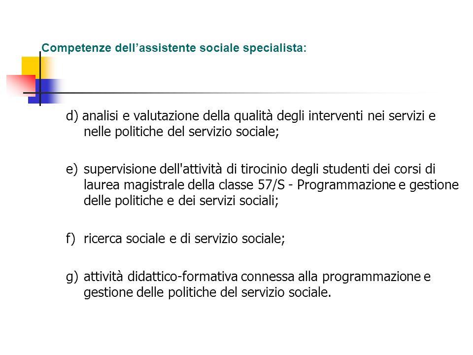 f) ricerca sociale e di servizio sociale;