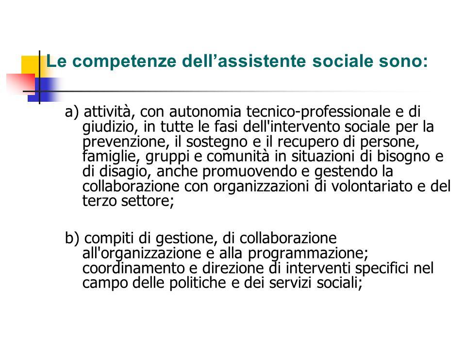 Le competenze dell'assistente sociale sono: