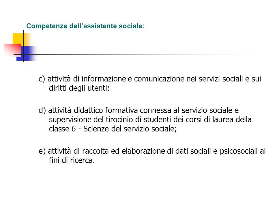 Competenze dell'assistente sociale: