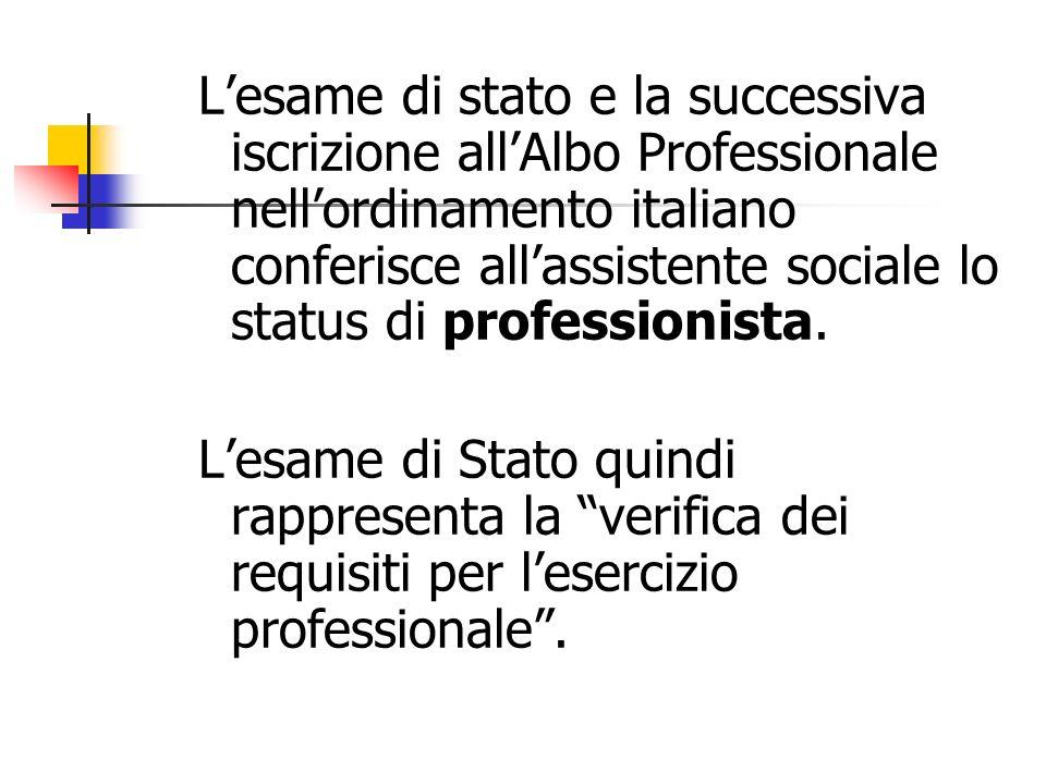 L'esame di stato e la successiva iscrizione all'Albo Professionale nell'ordinamento italiano conferisce all'assistente sociale lo status di professionista.