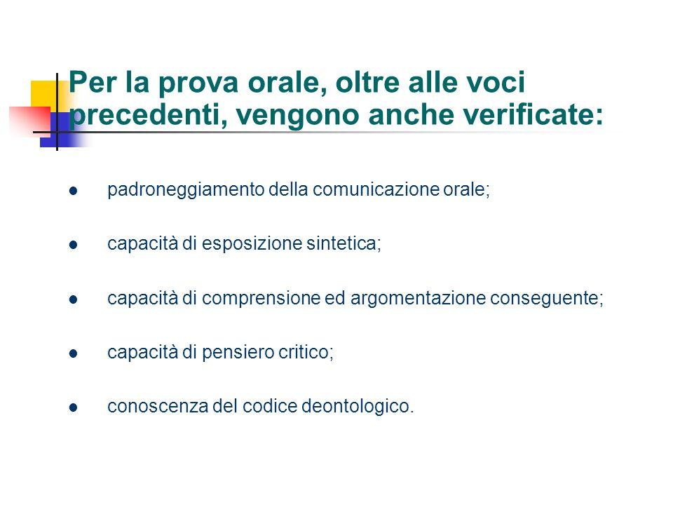 Per la prova orale, oltre alle voci precedenti, vengono anche verificate: