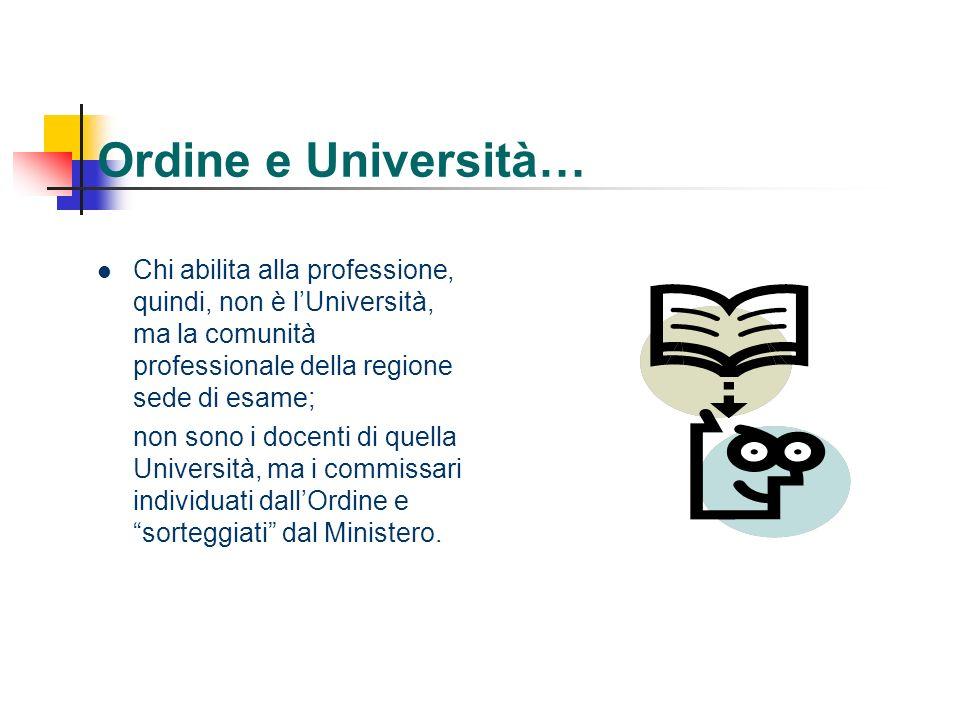 Ordine e Università… Chi abilita alla professione, quindi, non è l'Università, ma la comunità professionale della regione sede di esame;