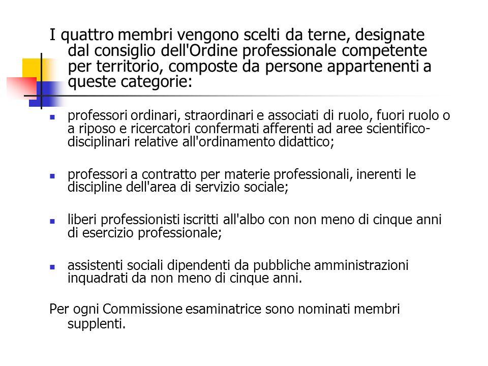 I quattro membri vengono scelti da terne, designate dal consiglio dell Ordine professionale competente per territorio, composte da persone appartenenti a queste categorie: