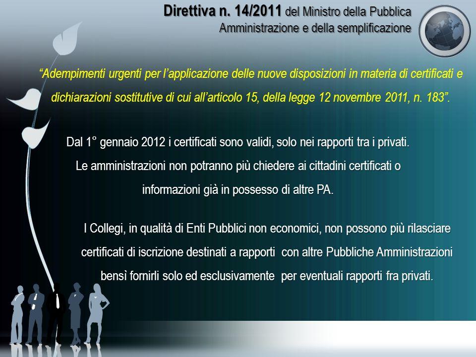 Direttiva n. 14/2011 del Ministro della Pubblica Amministrazione e della semplificazione