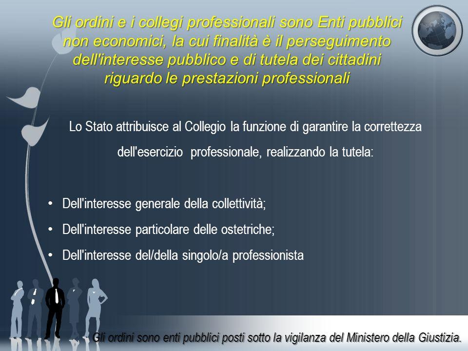 Gli ordini e i collegi professionali sono Enti pubblici non economici, la cui finalità è il perseguimento dell interesse pubblico e di tutela dei cittadini riguardo le prestazioni professionali