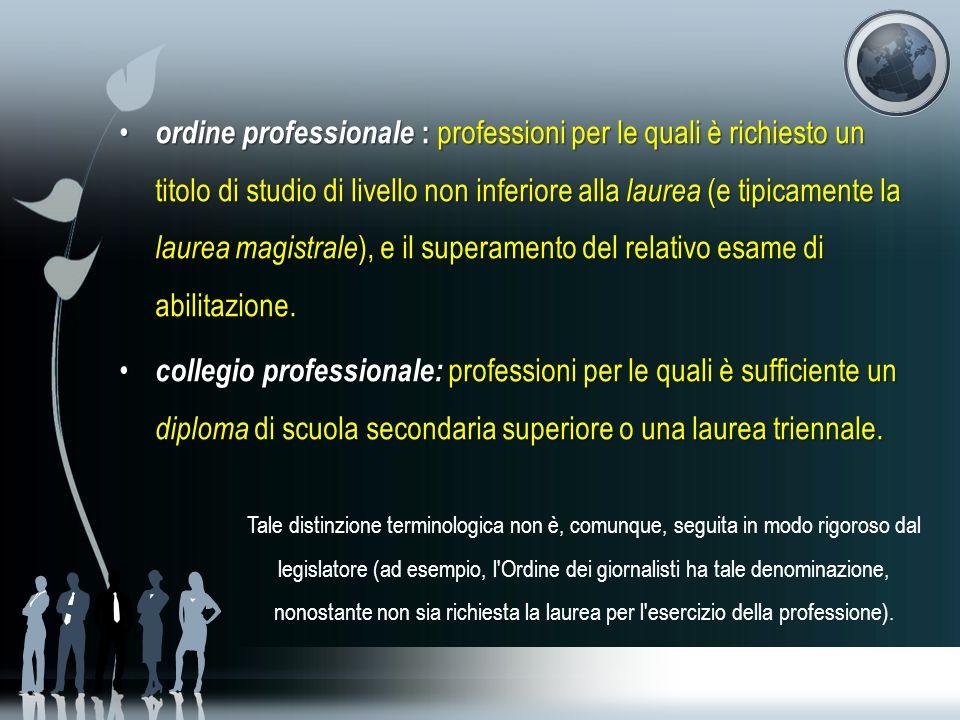 ordine professionale : professioni per le quali è richiesto un titolo di studio di livello non inferiore alla laurea (e tipicamente la laurea magistrale), e il superamento del relativo esame di abilitazione.