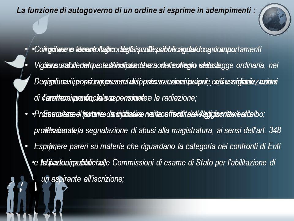 La funzione di autogoverno di un ordine si esprime in adempimenti :