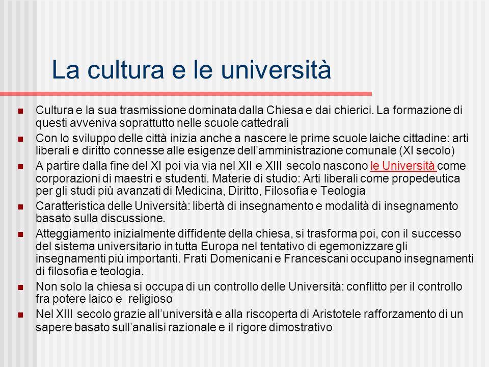 La cultura e le università