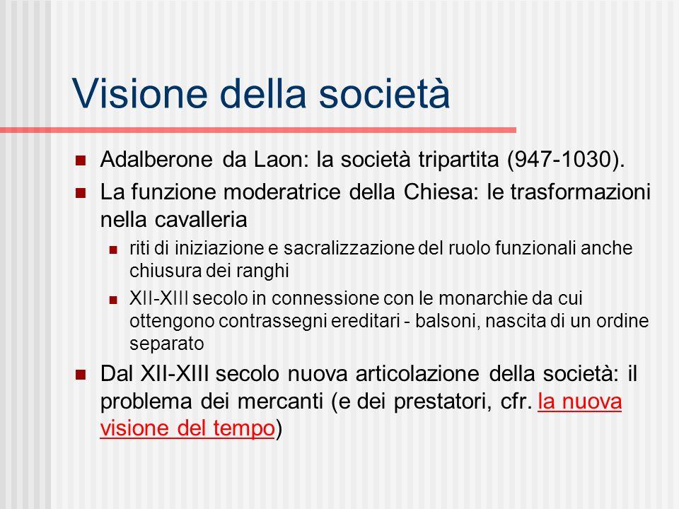Visione della società Adalberone da Laon: la società tripartita (947-1030). La funzione moderatrice della Chiesa: le trasformazioni nella cavalleria.
