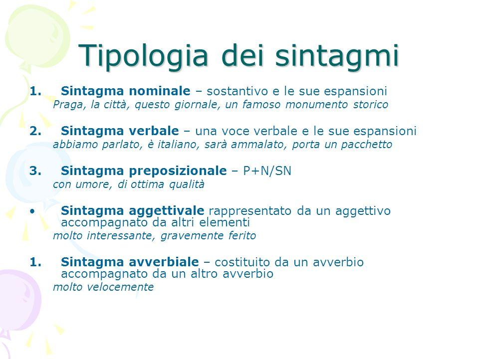 Tipologia dei sintagmi