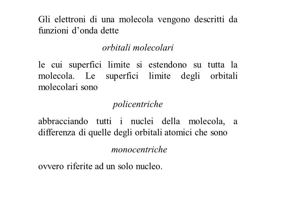 Gli elettroni di una molecola vengono descritti da funzioni d'onda dette