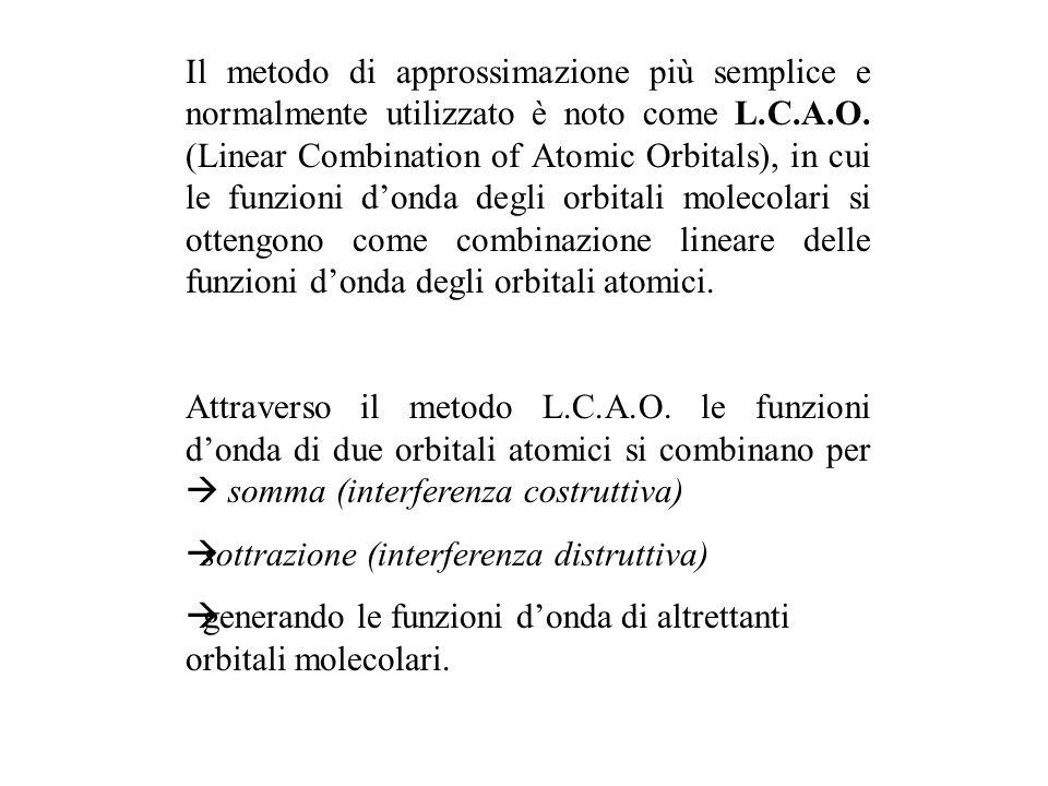 Il metodo di approssimazione più semplice e normalmente utilizzato è noto come L.C.A.O. (Linear Combination of Atomic Orbitals), in cui le funzioni d'onda degli orbitali molecolari si ottengono come combinazione lineare delle funzioni d'onda degli orbitali atomici.