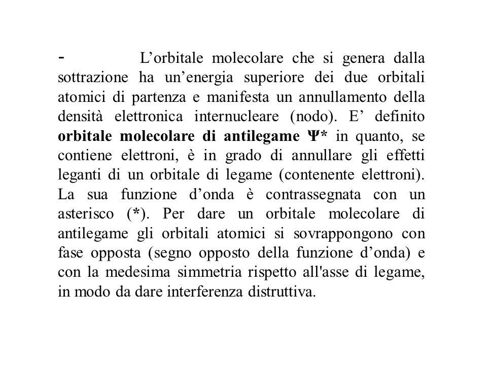 - L'orbitale molecolare che si genera dalla sottrazione ha un'energia superiore dei due orbitali atomici di partenza e manifesta un annullamento della densità elettronica internucleare (nodo).