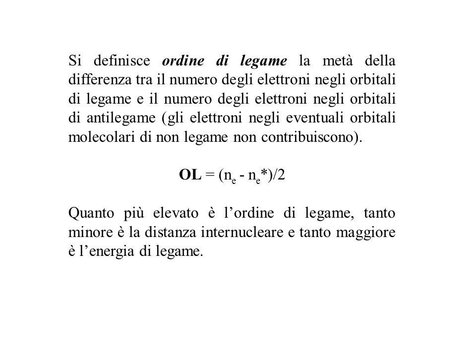 Si definisce ordine di legame la metà della differenza tra il numero degli elettroni negli orbitali di legame e il numero degli elettroni negli orbitali di antilegame (gli elettroni negli eventuali orbitali molecolari di non legame non contribuiscono).