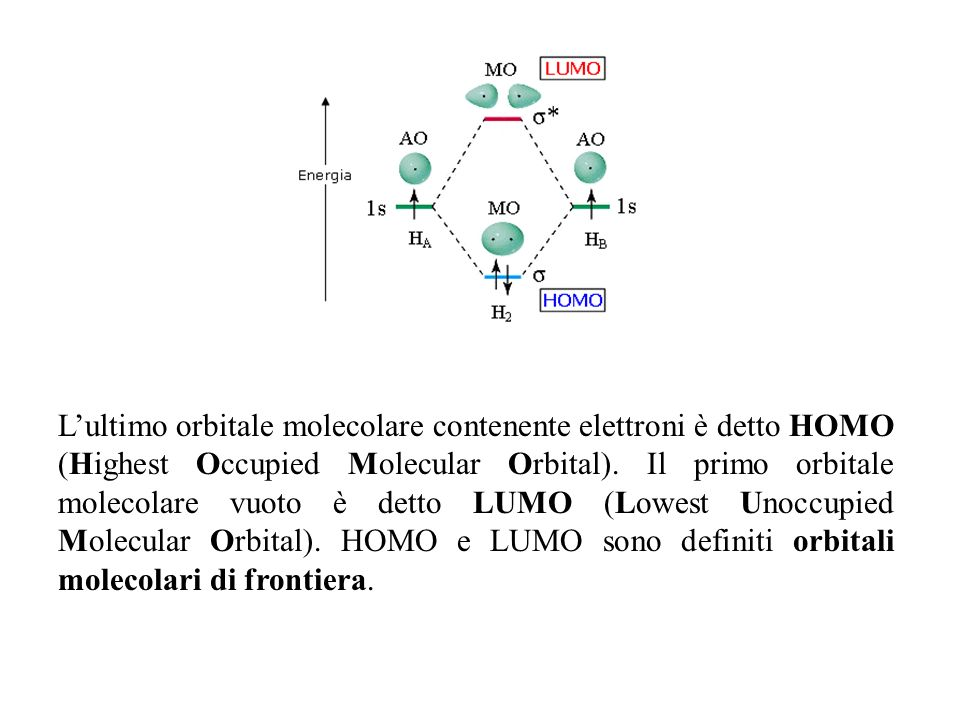 L'ultimo orbitale molecolare contenente elettroni è detto HOMO (Highest Occupied Molecular Orbital).