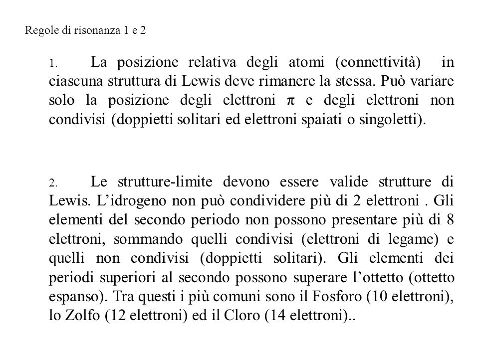 Regole di risonanza 1 e 2
