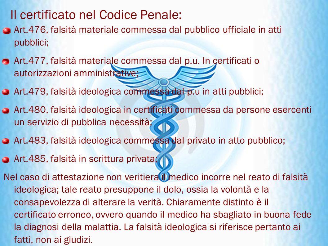Il certificato nel Codice Penale: