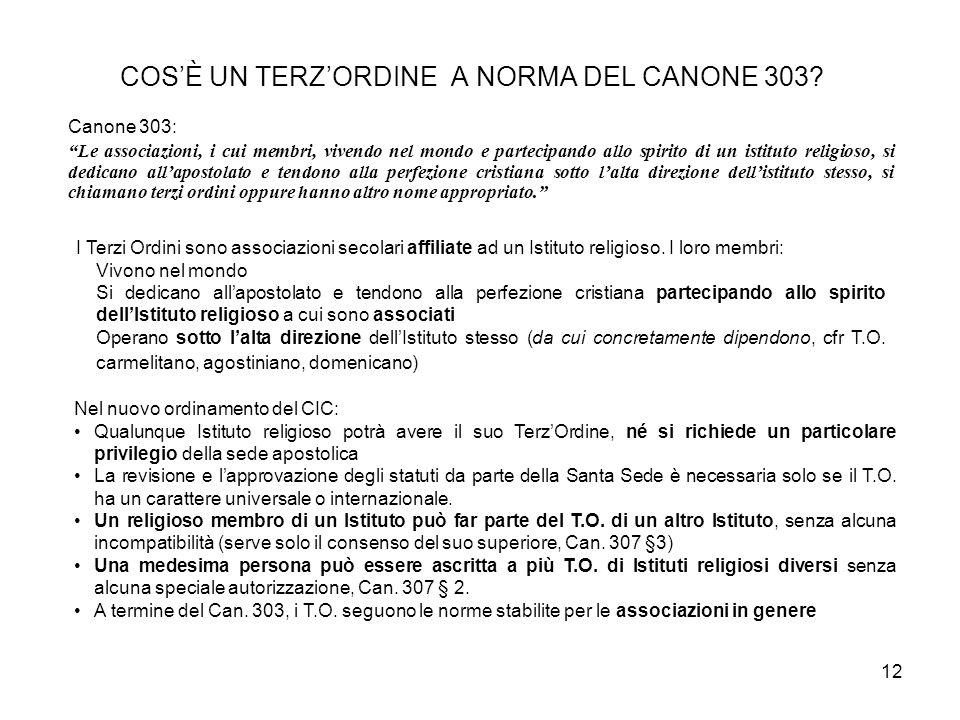 COS'È UN TERZ'ORDINE A NORMA DEL CANONE 303