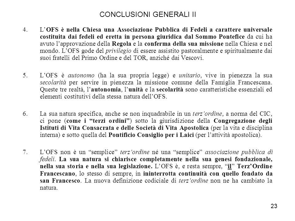 CONCLUSIONI GENERALI II