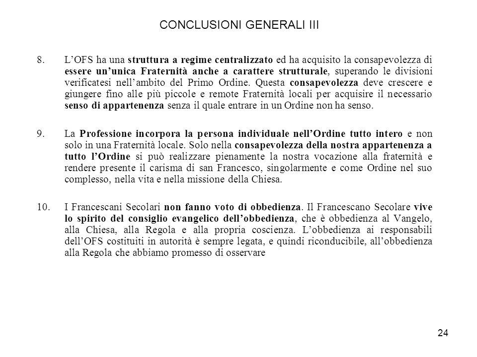 CONCLUSIONI GENERALI III