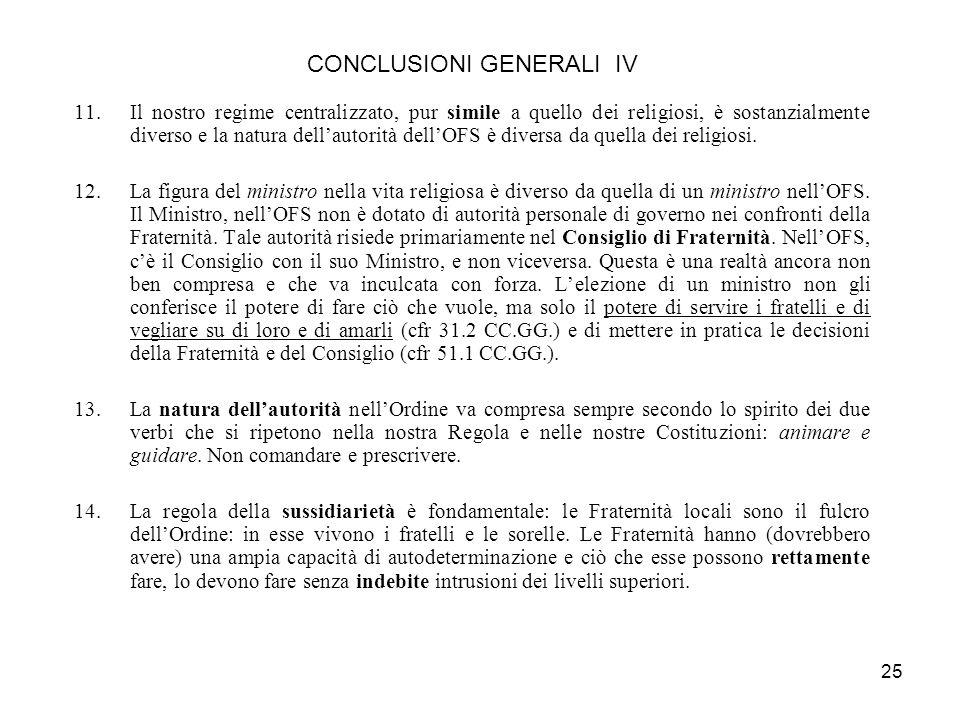 CONCLUSIONI GENERALI IV