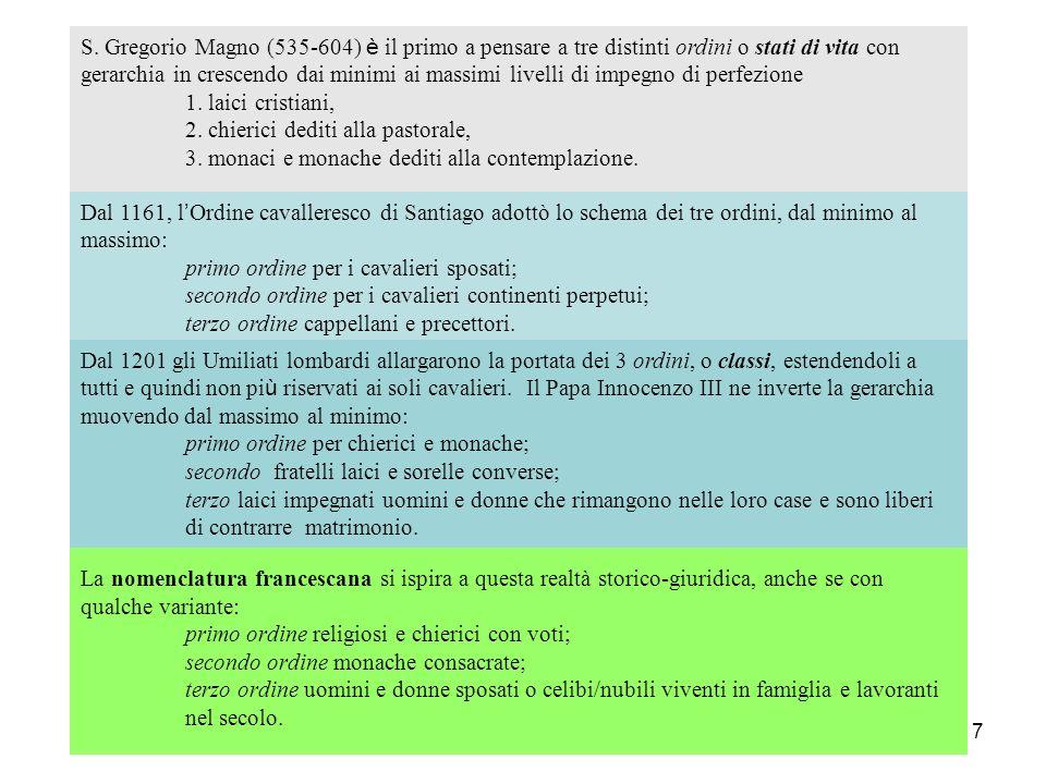 S. Gregorio Magno (535-604) è il primo a pensare a tre distinti ordini o stati di vita con gerarchia in crescendo dai minimi ai massimi livelli di impegno di perfezione 1. laici cristiani, 2. chierici dediti alla pastorale, 3. monaci e monache dediti alla contemplazione.