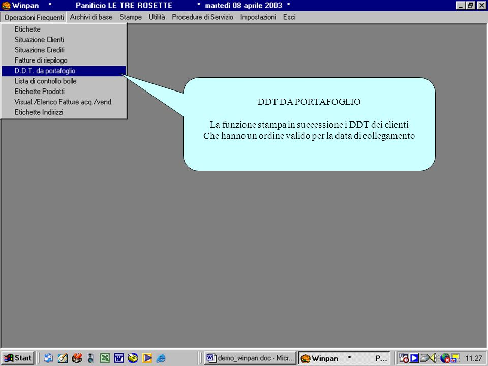 La funzione stampa in successione i DDT dei clienti