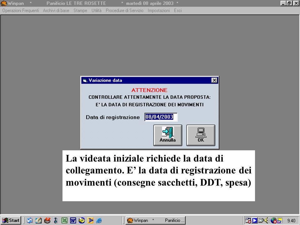 La videata iniziale richiede la data di collegamento