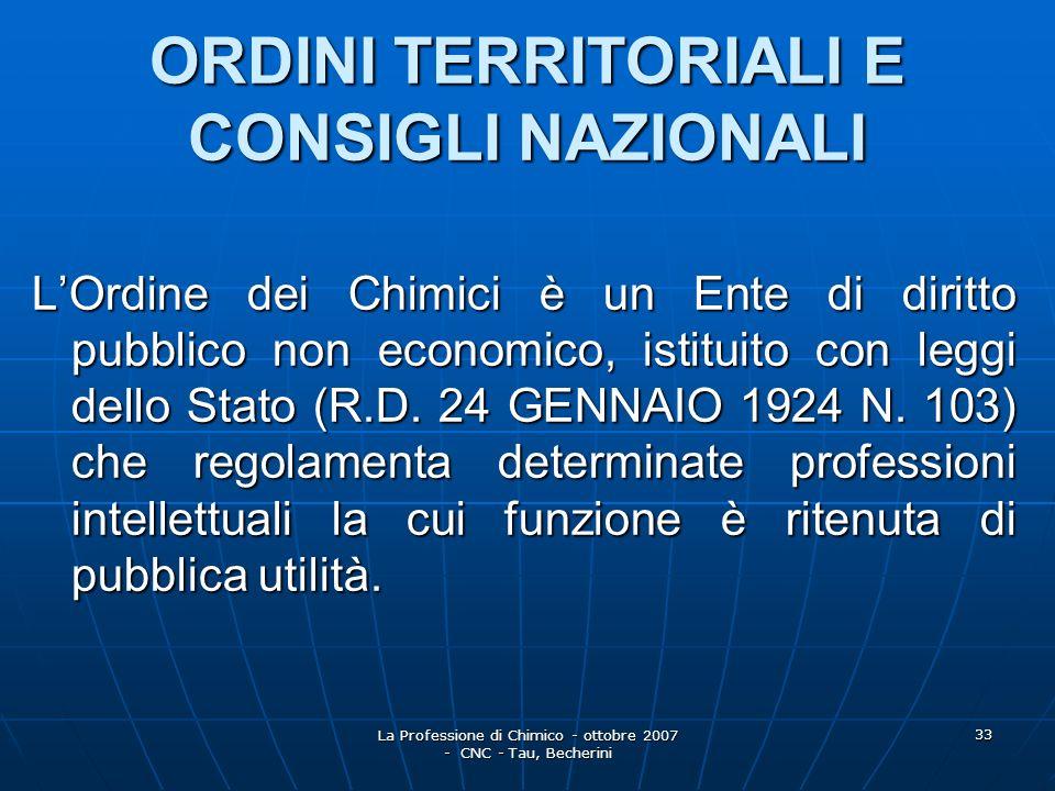 ORDINI TERRITORIALI E CONSIGLI NAZIONALI