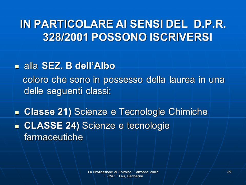 IN PARTICOLARE AI SENSI DEL D.P.R. 328/2001 POSSONO ISCRIVERSI