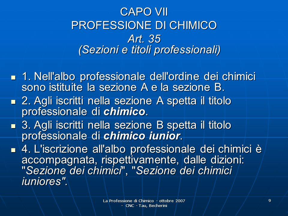 PROFESSIONE DI CHIMICO Art. 35 (Sezioni e titoli professionali)