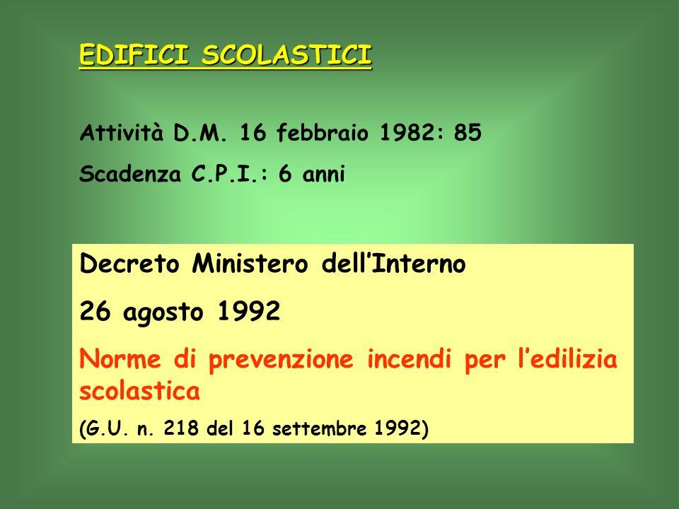 Decreto Ministero dell'Interno 26 agosto 1992
