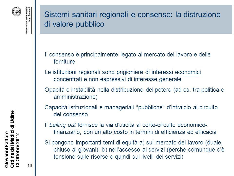 Sistemi sanitari regionali e consenso: la distruzione di valore pubblico