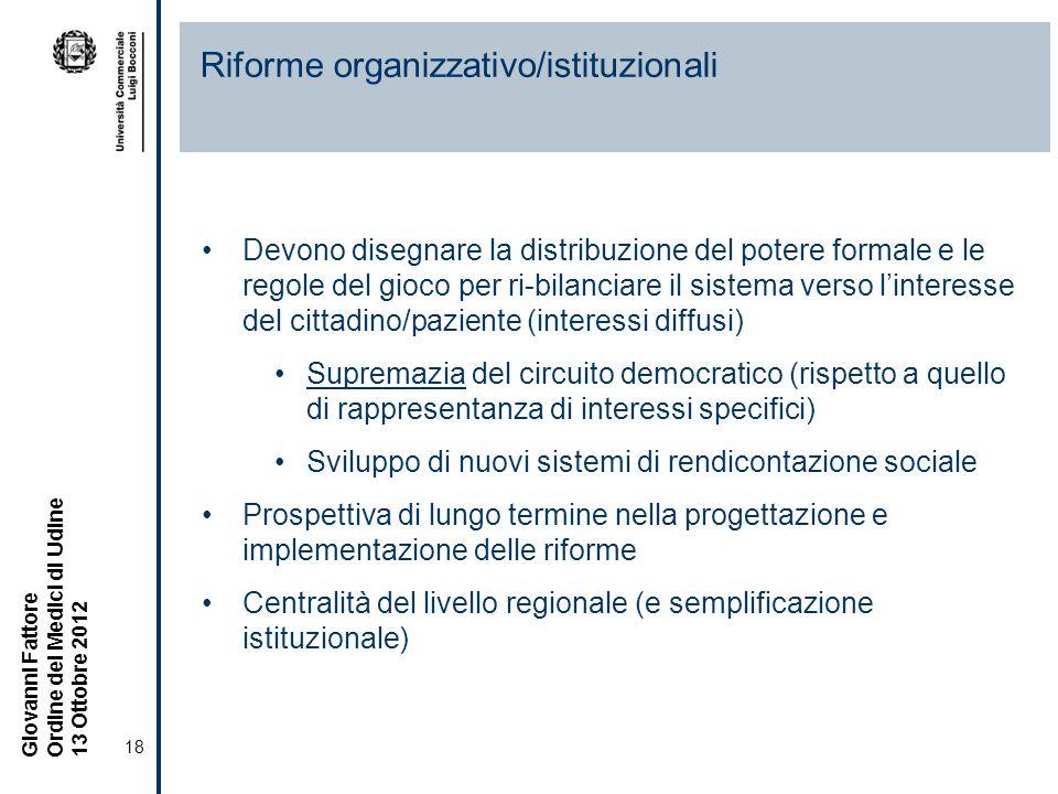 Riforme organizzativo/istituzionali