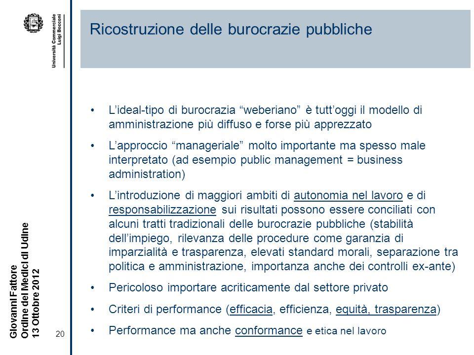 Ricostruzione delle burocrazie pubbliche