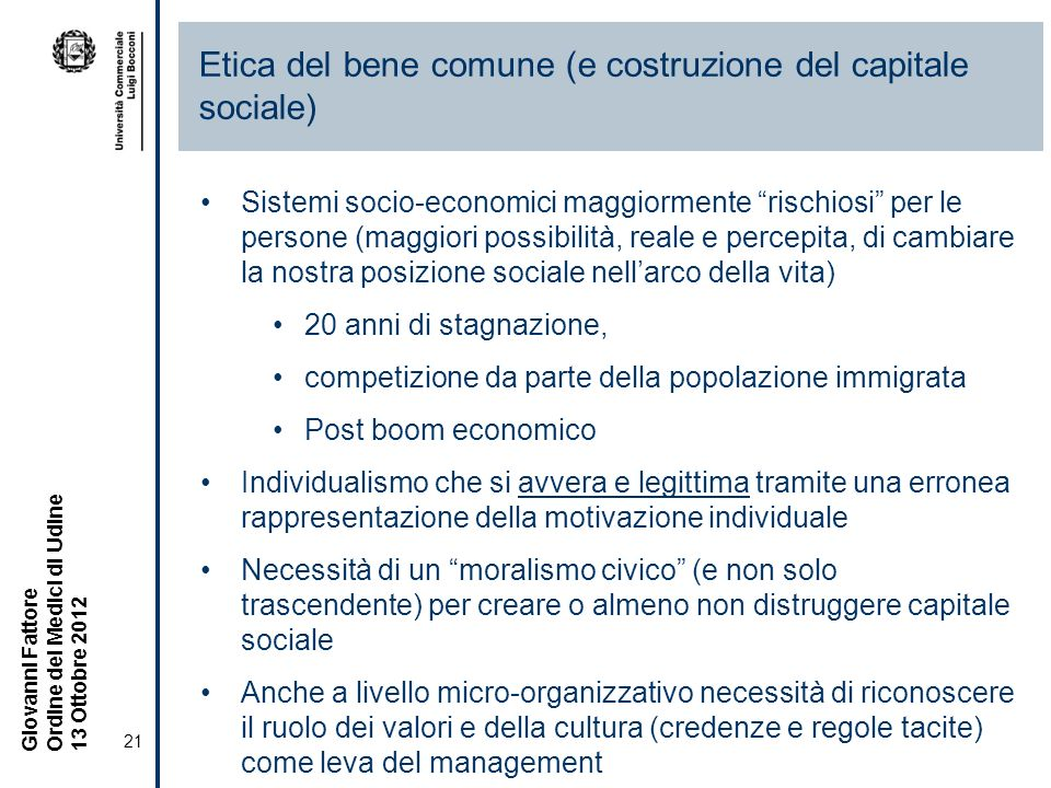 Etica del bene comune (e costruzione del capitale sociale)