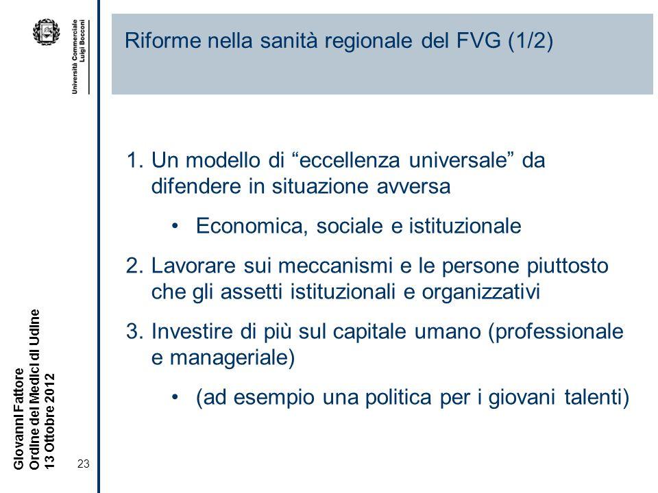 Riforme nella sanità regionale del FVG (1/2)
